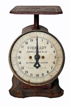 """Vintage Eveready Scale: 8.5""""H 6""""W 7.5""""D. 20 pounds by ounces.  I have one that sort of looks like this by Wannamaker"""