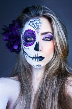 Halloween Beauty Makeup Looks: #3 Half the Face, Twice The Hot!