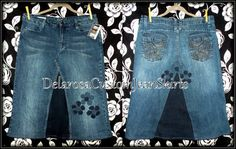 Custom Order two tone Short jean skirt up to by CustomJeanSkirts, $40.00