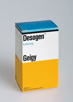 """By the 60s, the packaging for all of Geigy's medications came with the identifying stripe and color blocks. Suddenly pharmacy shelves could be read as full of Geigy products from across the store. Max Schmid did the design."""