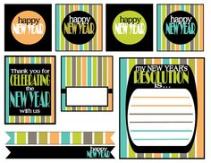 "Happy New Year - Free Printables - party circles (2″ and 4″), a ""Happy New Year"" banner, cupcake wrappers, favor tags, fill in invitation, menu card, New Year's resolution cards, straw flags, tented cards, and wine/champagne bottle labels"