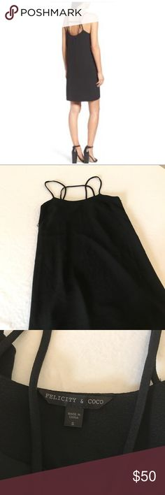 """Felicity & Coco, strappy back shift dress, small Perfect lil' black dress by felicity & coco, strappy back shift dress, nwot, size small, fits a size 4. 🚫no trades. Runs true to size. Currently in stores. An eye-catching strappy back puts a contemporary twist on this stretch-infused dress cut in an easy shift silhouette. 34 3/4"""" length (size Medium). Slips on over head. Scooped neck. Sleeveless. Lined. felicity & coco Dresses Midi"""