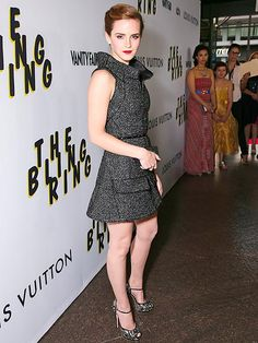 """Emma Watson in a tweed Chanel mini and Giuseppe Zanotti heels at the Los Angeles premiere of """"The Bling Ring"""", June 4, 2013... so perfect."""