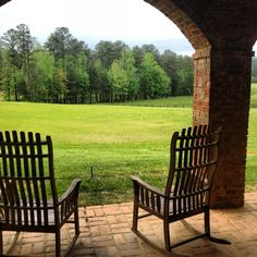 The best sitting spot in Rome Georgia! And I rocked in the chair on the left just this past weekend at The Farm. Unbelievable view.