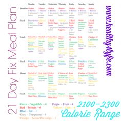 2100-2300 Calorie meal plan 21 day fix