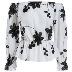 White Black Off the Shoulder Floral Blouse (22 SGD) ❤ liked on Polyvore featuring tops, blouses, shirts, blusas, white, shirt blouse, white shirt, off the shoulder shirts, black and white blouse and black white shirt