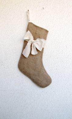 Burlap Christmas Stocking Rustic Holiday  Stocking Shabby chic bow stocking
