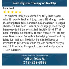 The physical therapists at Peak PT truly understand what it takes to heal an injury.  I am...