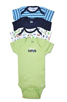 6203cc61d7 Amazon.com  Gerber 4 Pack Baby Boy Puppy Dog and Sports Onesies (0-3  Months)  Clothing