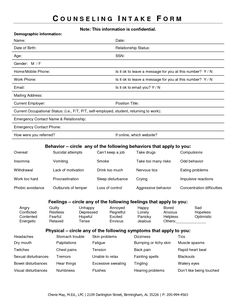 intake form for counseling clients - Google Search