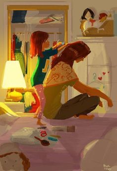 artwork of pascal campion Pascal Campion, Mother Daughter Art, Mother And Child, Art And Illustration, Foto Fantasy, Mothers Love, Illustrators, Art Drawings, Concept Art