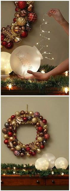 Christmas decorations with fairy lights