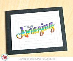 Jamie Gracz for Avery Elle using Simply Said Amazing Stamp & Die Set, Pierced Rectangles Die Set.