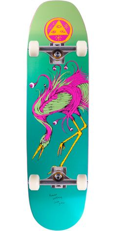 """Welcome Love Watcher on Moontrimmer Skateboard Complete - Miami - 8.50"""" This Welcome board depicts the rare Love Watcher on the Moontrimmer shape. Don't blink, the Love Watcher might fly away before you know it. Or you might..."""