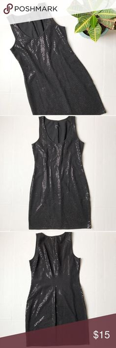 Express Reflective Dot Tank Dress Reflective Dot Tank Dress from Express. Size: S. Color: Black. Tank dress with reflective Dots over the whole dress giving it a Sequin look without the delicate sequins. 95% cotton, 5% spandex. 33 inches long. Express Dresses Mini
