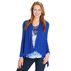 721-021 - One World Printed Knit Flutter Sleeved Top & Slub Knit Cardigan Set