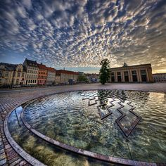 Sunrise just outisde the Thorvaldsens Museum, Copenhagen, Denmark.    Vertical Panorama.