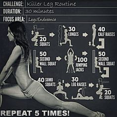 30 min killer leg routine.- perfect for days I can't make the gym.