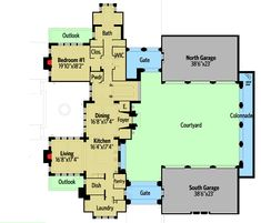 Castle House Plan with Six Master Suites for a Hillside Lot - floor plan - Main Level Castle Floor Plan, Castle House Plans, House Plans Mansion, House Floor Plans, Unique Floor Plans, Modern House Plans, 6 Bedroom House Plans, Courtyard House Plans, Mountain House Plans