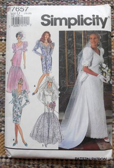 Simplicity 7657 Amazing 1990s Wedding Dresses by Clutterina