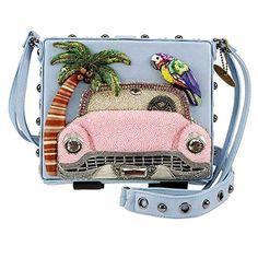 Mary Frances Pink Cadillac Car Handbag Beaded Retro Blue Palm Tree Bird Bag New Mary Frances Purses, Mary Frances Handbags, Novelty Handbags, Purses And Handbags, Beaded Purses, Beaded Bags, Wine Purse, Pink Cadillac, Bootie Sandals