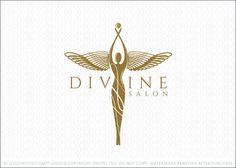 Logo Sold: Winged Woman figure designed in a sophisticated and elegant style. The woman's figure is adorned with unique and distinctive angel wings, which is the highlight of this logo design. The arms of the woman are in an upward position reaching to the sky with a golden ball/orb held in her hands. The entire design commands attention with this bold, dynamic and unique mythical female figure.