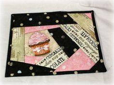 cupcake mug rug in black and pink.  etsy
