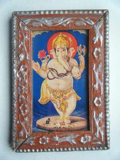 Rare Vintage Ganesha Elephant God Old Art Print in Old Wooden Frame India #2293