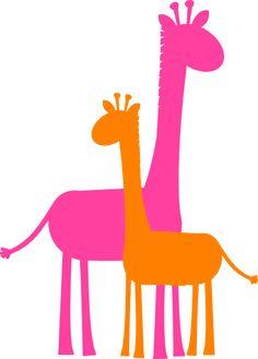 giraffe caricature | Mother And Baby Giraffe Sillouette clip art - vector clip art online ...