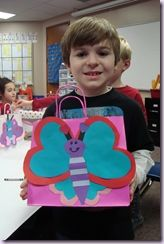 Valentine Butterfly bags to make as mailboxes. Each person may trace the hearts on the colors of his choice.