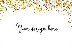 Styled stock photography + FREE Cropped Image | Digital Image | Mockup | JPG Digital Image | Golden Stars on White Background | Christmas styled stock image