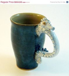 Seahorse Mug Brushed Blue Inky Brown and White by skybirdarts