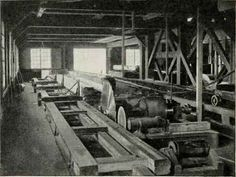 Interior Of A Sawmill. Circular Saws. Lumber Mill, Wood Shop Projects, Logging Equipment, Antique Woodworking Tools, Got Wood, Wood Steel, River Walk, Model Trains, Back In The Day