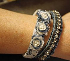 denim bracelets and more-finally some cute ways to use all of the old work jeans in our house!