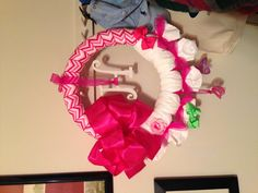 Baby wreath! Made with diapers.
