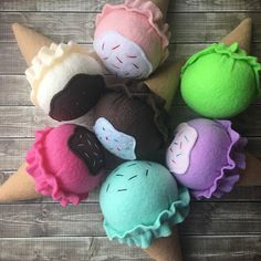 felt play food ice cream cone, pretend ice cream toy made from ecofelt, embroidery floss, polyester thread and polyester fiberfill. play ice cream cones! fun, colorful, felt food ice cream cones are a charming addition to your Little Ones play kitchen, restaurant or dessert shop! these