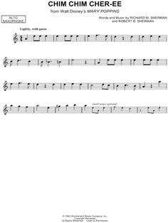 """Chim Chim Cher-ee"" from 'Mary Poppins' Sheet Music (Alto Saxophone Solo) - Download & Print"