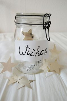 """At Wish Interview, Volunteer could bring Jar marked """"Wishes"""", made of 4 different stars. She could ask the child to write one wish for each type """"I wish to be"""", """"I wish to have"""", """"I wish to go"""" and """"I wish to meet"""".  Then, the volunteer could tell the child to mark 1-4 in order of what they want the very most.    Also - could be cute to have guests write """"their wishes"""" for wish child at send-off party."""