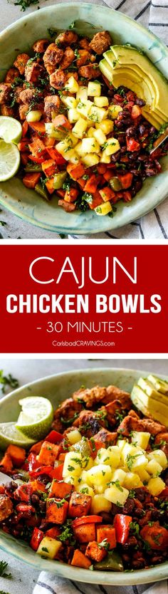 30 Minute Cajun Chicken Bowls bursting with avocados, black beans, sweet potatoes and pineapple! These are spicy, fresh, healthy and ADDICTING! via @carlsbadcraving