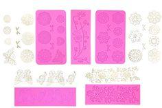 Authentic 5pc Cake Decorating Molds- Premium Silicone Decoration Molds for Sugarcraft, Fondant, Gumpaste, Resin Mold , Lace Embossing Impression DIY Cake Fondant Decorating Mold -(set of 5)- Pink, ,