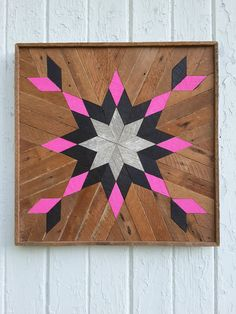 Reclaimed Wood Wall Art Lath Art Starburst Square by PastReclaimed
