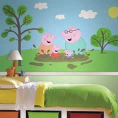 peppa pig ultra jet roommates strippable prepasted mural rail chair xl