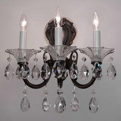Classic Lighting Via Lombardi 3 Light Wall Sconce Finish: 24k Gold Plate, Crystal Type: Swarovski Spectra Crystal