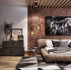 99 Cozy Loft Home Decor Ideas Thath Everyone Should Have – Loft living has become the trendy new way of living for the yuppies living in urban areas who w Men's Bedroom Design, Industrial Bedroom Design, Bedroom Loft, Apartment Interior, Home Interior, Modern Interior Design, Casa Loft, Loft House, Home Decor Styles