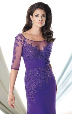 Mother Of The Bride Dress Lady Formal Evening Prom Dress Tulle Applique Seven Sleeve Floor-length Pa on Luulla