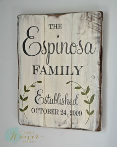 Family Established Sign with Leaves (customizable) – Aimee Weaver Designs, LLC