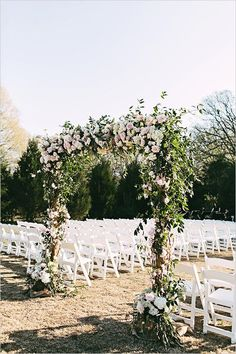 Floral arch for wedding ceremony.