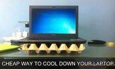 use egg carton to keep bottom of laptop cool