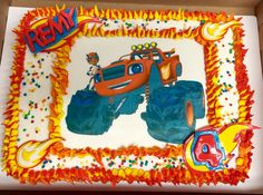 Blaze and the Monster Machines Cake - Made with edible cake image and topped off with an awesome flame border. Little Man Birthday Party Ideas, 3rd Birthday Parties, 4th Birthday, Birthday Party Invitations, Birthday Ideas, Blaze Birthday Cake, Cookie Cake Birthday, Blaze And The Monster Machines Cake, Monster Truck Birthday