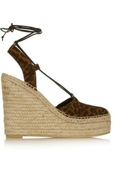 Leopard-print suede wedge espadrilles #slipons #offduty #women #covetme #saintlaurent